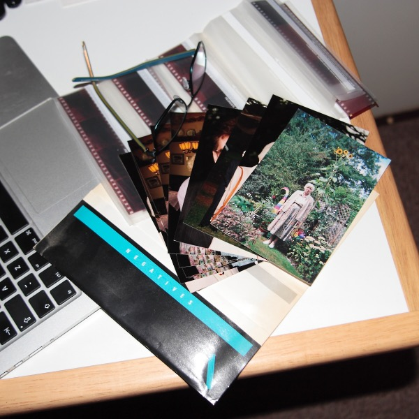 Selection of enprints or small photo prints and strips of film negatives