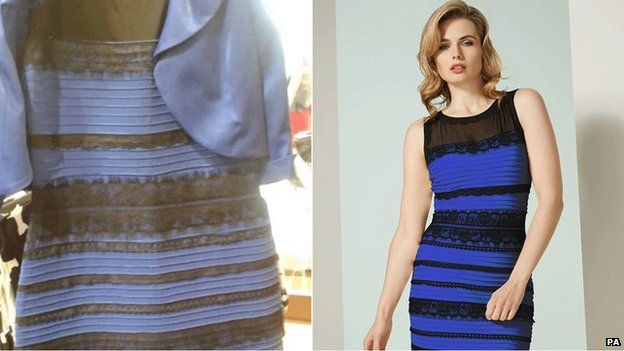 Optical illusion showing a dress appearing a both blue or gold